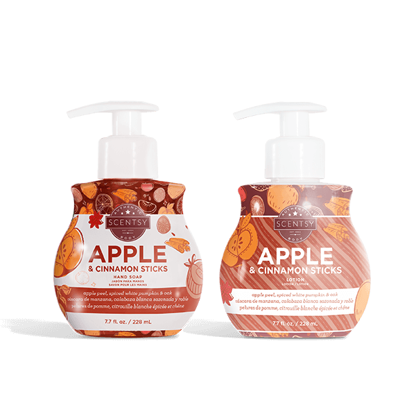 Scentsy Apple and Cinnamon Sticks Hand Soap and Lotion Bundle